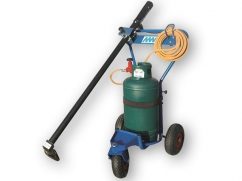 Gaz weed burner with gas and hot air - convenient trolley