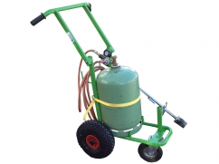Gaz weed burner with trolley - 2 large wheels and pivoting wheel