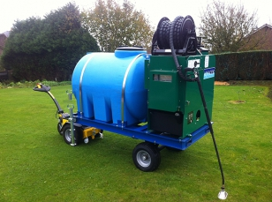 Hot water weed control machines