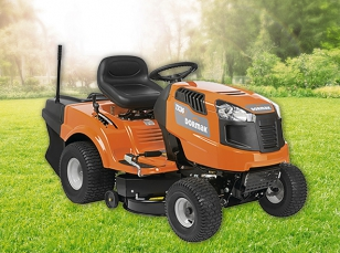 Lawn tractors with rear discharge